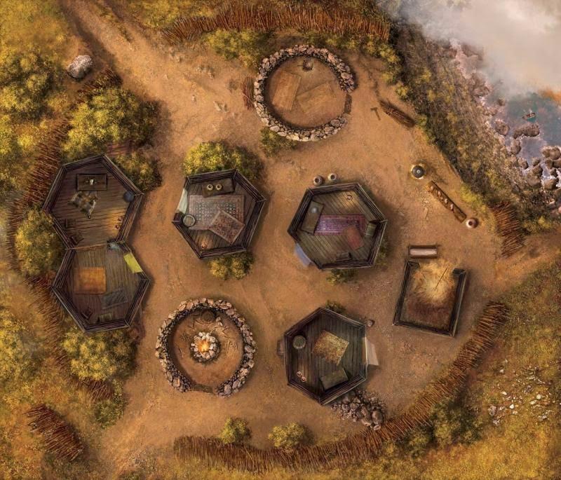 Un des plateaux de jeu: le village picte